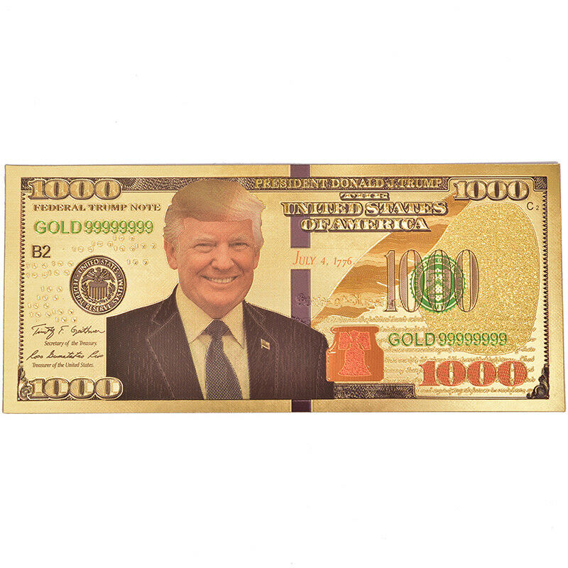 US President Donald Trump Gold Foils Paper Moeny Non Currency Collection GiftRDR