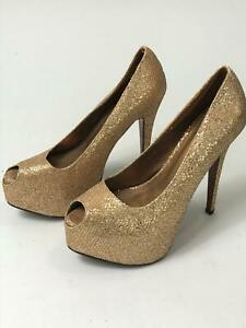 WOMEN-039-S-BEBO-METALLIC-GOLD-PEEP-TOE-PLATFORM-HIGH-HEEL-SHOES-UK-8-EU-40