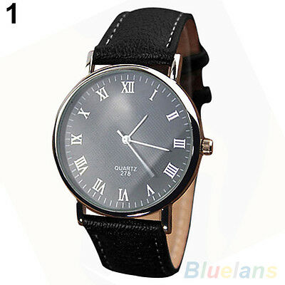 Great Men Roman Numerals Business Faux Leather Strap Quartz Analog Wrist Watch