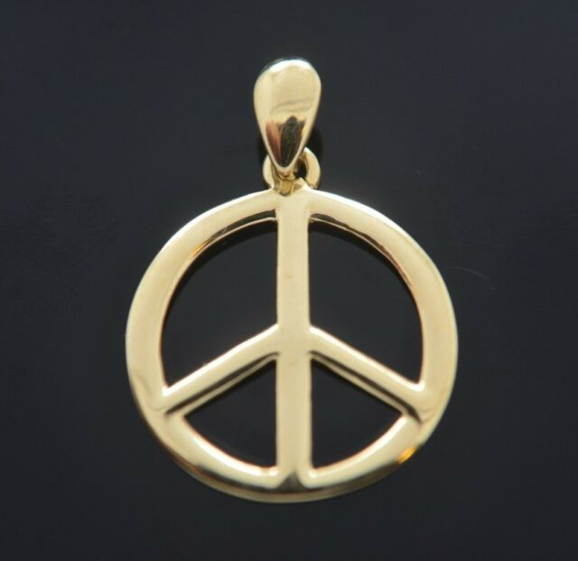 14k Yellow Gold Open back Peace Sign Circle Charm Pendant 30mmx21mm