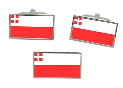Utrecht City Netherlands Sterling Silver Flag Cufflinks Engraved Box