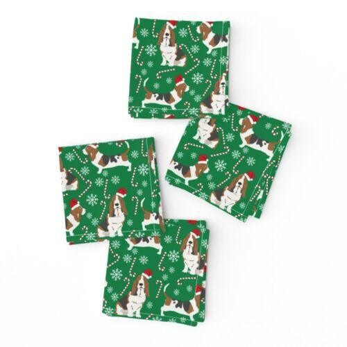 Cocktail Napkins Basset Hound Basset Hound Dog Dogs Christmas Candy Set of 4
