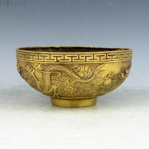 Chinese antique handmade brass statue dragon bowl