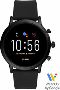 Fossil - Gen 5 Smartwatch 44mm Stainless Steel - Black with Black Silicone Band