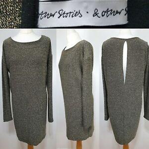 amp-OTHER-STORIES-Black-Gold-Glitter-Sparkle-Oversized-Slouch-Dress-Size-10-Party