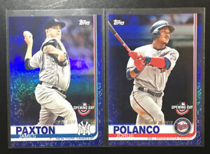 2019-Topps-Opening-Day-James-Paxton-Jorge-Polanco-Blue-Foil-Parallel