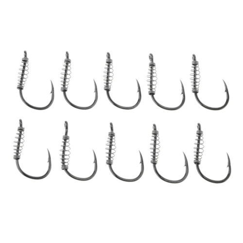 10pcs High Strength Fishing Hooks Barbed Hook Fishhook with Spring for Soft Lure