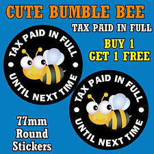 CUTE BUMBLE BEE - FUN CAR STICKERS - REPLACE OLD TAX DISC / NEW / GIFT / XMAS