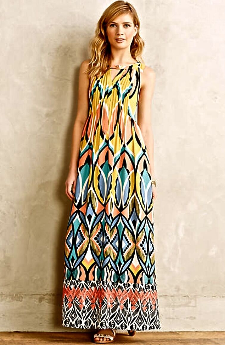 NEW Anthropologie Floreat coral Gold schwarz Geo Print Embroiderot Maxi Dress P 2