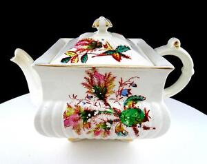 OB-OPAQUE-WARRANTED-CHINA-SQUARE-FLORAL-ANTIQUE-5-3-8-034-TEAPOT