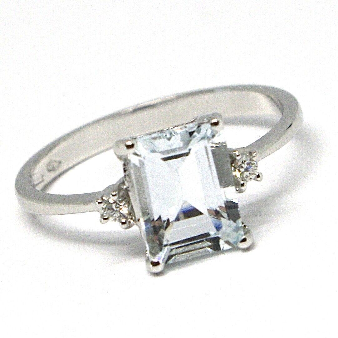 Anillo de gold whiteo 750 18 CT, Aguamarina Esmeralda, Diamantes