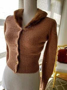 NWT Regalo maglia Mink S Gold m Blumarine Metallic Maglione in di Peach lana Collar BqYHBrO
