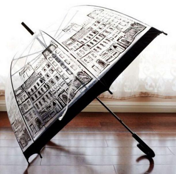 FD1483 Transparent Dome Birdcage Umbrella Stick Long Building Print Umbrella 1pc