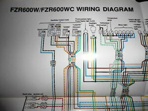 yamaha oem factory color wiring diagram schematic 1989 fzr600w basic electrical wiring diagrams image is loading yamaha oem factory color wiring diagram schematic 1989