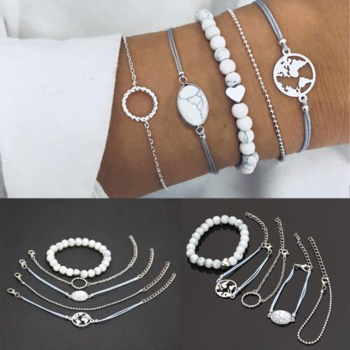 Natural Stone Jewelry Sets Beads Chain Bracelet Hollow Pendant Cuff Bangles