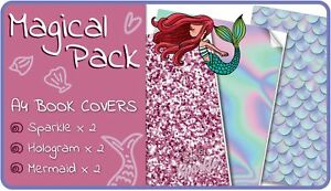 Magical-A4-School-Book-Covers-6-pack-Slip-On-Mermaid-School-Book-Jackets