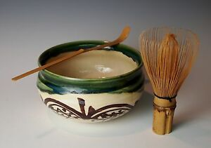 JAPANESE ORIBE TEA CEREMONY KENSUI BOWL WHISK CHASHAKU Pottery Bamboo Chasen Set