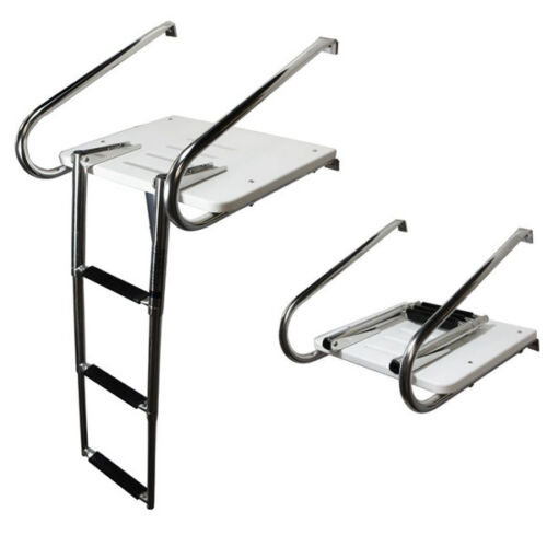 3 Step Telescoping Ladder Fiberglass Swim Platform Ladder Stainless 2 Rails Safe