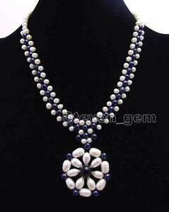 10-11mm Rice White pearl /& Amethyst /& Jade /& Metal Ring 32/'/' Necklace for Women