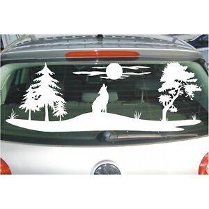 Aufkleber Landschaft  Feld Wiese Bäume Wolf heult Mond an Baum Folie Sticker