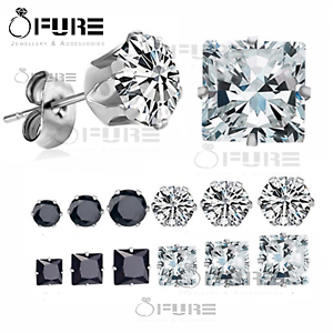 Pair-of-Men-Women-Kids-Surgical-Steel-Silver-CZ-Non-allergenic-Stud-Earrings