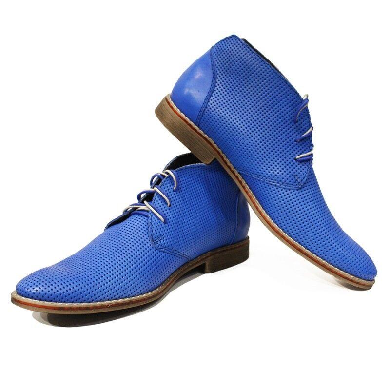 Modello Sisto - Handmade Colorful Italian Leather Shoes Chukka Boots Blue