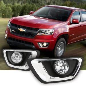 For-2015-2018-Chevrolet-Colorado-Clear-Lens-Driving-Fog-Lights-Kit-w-Bezel-Bulbs