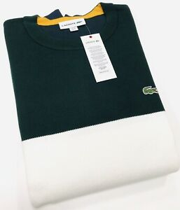 16c4d9960f Details about Lacoste Men's Crew Neck Colourblock Ribbed Cotton Sweater In  Green/Cream/Navy