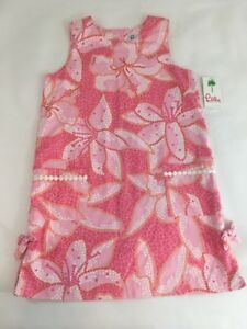 Lilly-Pulitzer-Girls-Dress-10-Shift-Sleeveless-Lined-Pink-Mosaic-Tile-Flower-NWT