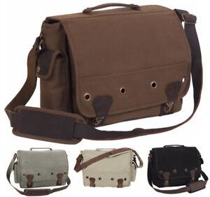 Image is loading Trailblazer-Canvas-amp-Leather-Messenger-Shoulder-Bag- Laptop- dfe33add6733