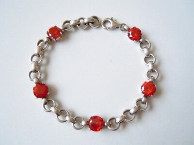 Jewelry & Watches 925 Sterling Silber Armband Armkette 5 X Rote Farbsteine 19,8 G/l:ca.19,5 Cm
