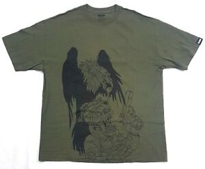 Raw-Army-Military-Skull-Vultures-Olive-Green-Black-Tee-Size-XL-Mens-T-Shirt-Vtg