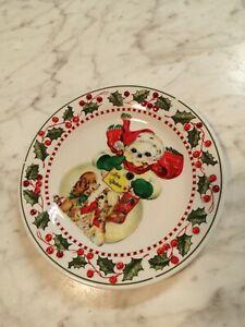 Vintage look Christmas Snowman Plate Decorative Rhinestones dogs Merry Christmas