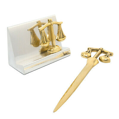 SCALES OF JUSTICE MARBLE PEN STAND /& BUSINESS CARD HOLDER DESK ACCESSORIES