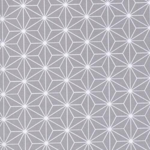 100/% Cotton Fabric Japanese Geometric Quilting Crafts Silver Grey Sashiko