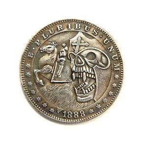 HOBO-NICKELS-SOUVENIR-DOLLAR-1888-USA-EXONUMIA-SILVERED-COIN-TOKEN