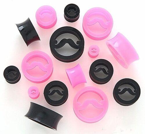 1 Paire Moustache Silicone Souple tunnels souples Bouchons d/'oreille Jauges Pick Taille Couleur