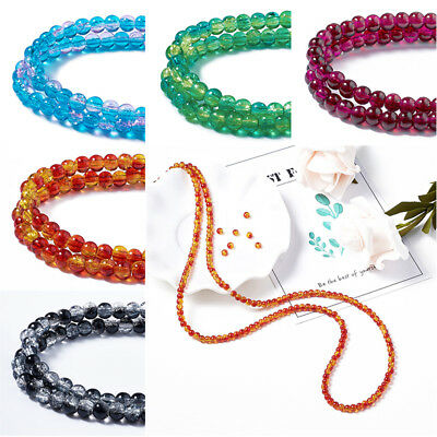 6mm Round Spray Painted Crackle Glass Beads Strands about 133pcs//strand 31.4/""