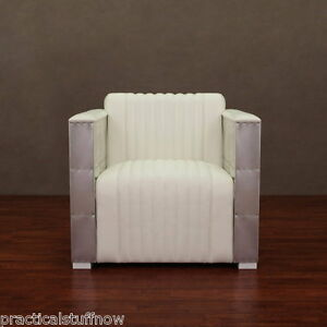 White Leather Aviator Chair Modern Executive Club Aluminum Office
