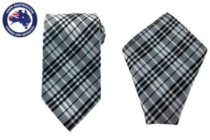 Grey and Black Check Stripes 8.5CM Necktie /& Pocket Square Business Wedding tie