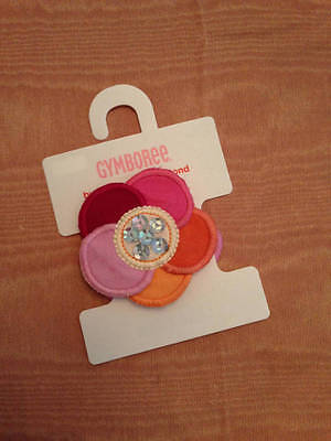 GYMBOREE CHERRY BLOSSOM HOLDING FAN PRINTED HAIR CLIPS 4-CT NWT