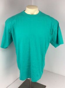 VTG-90s-Fashion-Gear-Solid-TEAL-GREEN-T-Shirt-XL-USA-MADE-BLANK-EUC