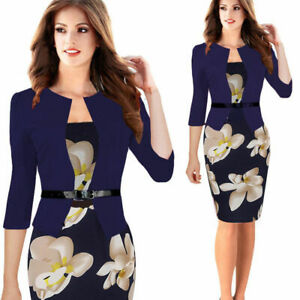 New-Women-Formal-Business-Work-Stretch-Cocktail-Party-Evening-Slim-Pencil-Dress