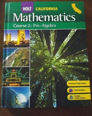Holt Mathematics Course 2 Pre Algebra 7th Grade 7 MATH SELECTED ANSWERS Good 9780030923166 EBay