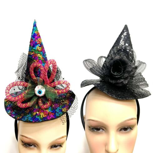 Deluxe Mini Witches Hat Fancy Dress Costume Halloween Accessory Headband Cosplay