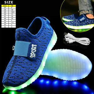 Kids Boys Girls Light Up Shoes LED Flashing Trainers Casual Sneakers ... 666a5152cade