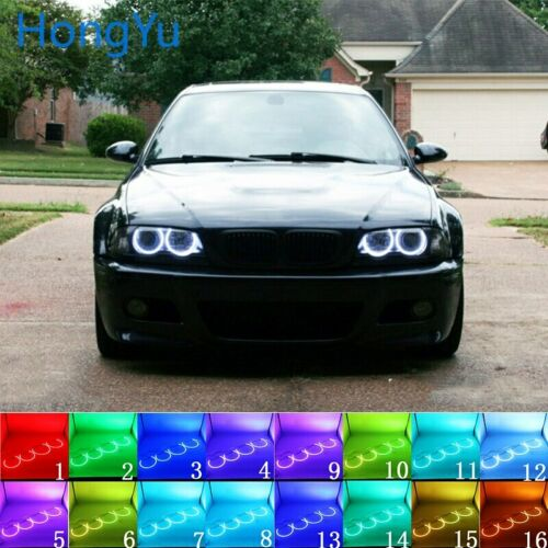 for BMW 98-05 E46 with PROJECTORS Multi-color LED Angel Eyes Halo Ring DRL