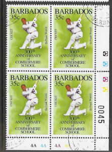 BARBADOS-1995-350th-Anniv-COMBERMERE-SCHOOL-SIR-FRANK-WORRELL-CORNER-BLOCK-OF-4