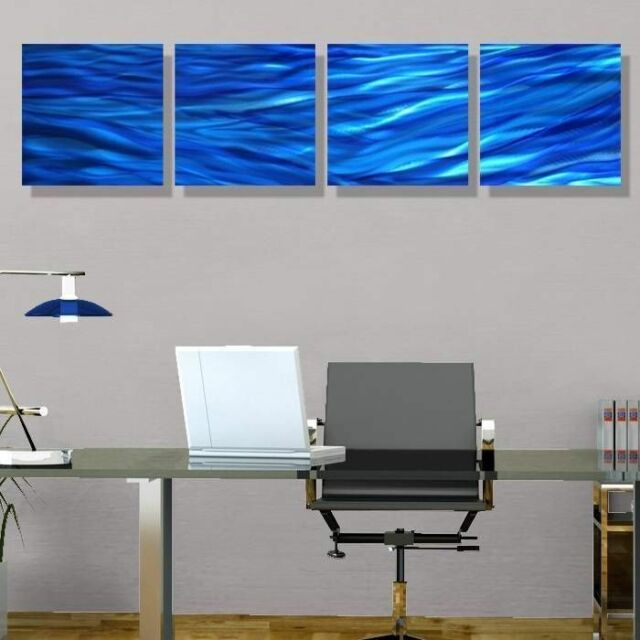 Blue Modern Abstract Painting Metal Wall Art Home Decor Accent Rolling Waves