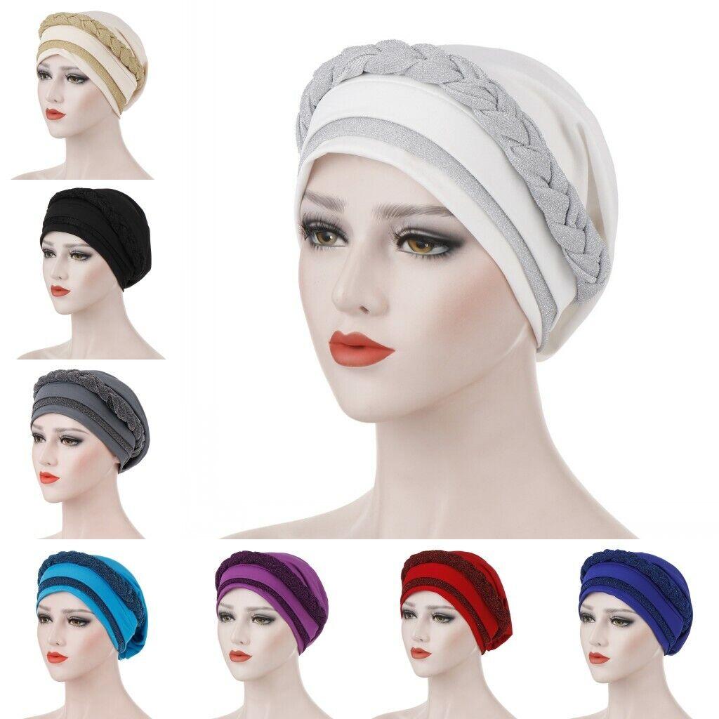 Women Muslim Islamic Hair Loss Braid Chamo Arab Hijab Turban Wrap Cap Hat Scarf